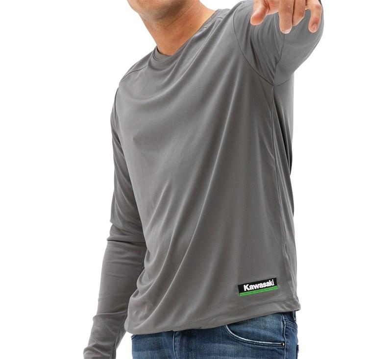 Kawasaki 3 Green Lines Cool Dry Long Sleeve Shirt detail photo 1