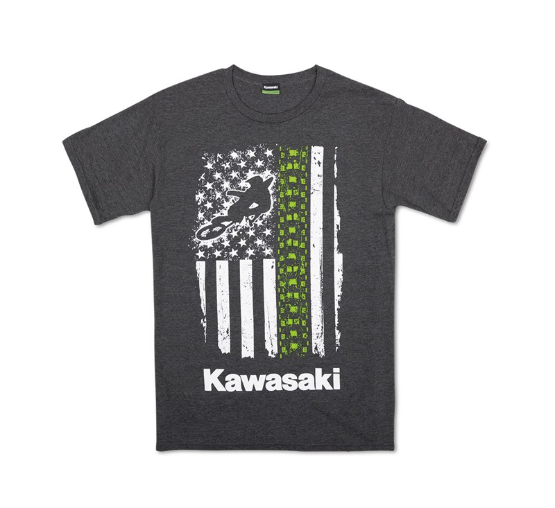 Kawasaki  Flag Moto T-Shirt detail photo 1