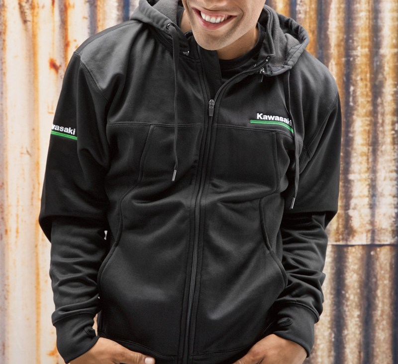 Kawasaki 3 Green Lines Technical Zip-Front Hooded Sweatshirt detail photo 2