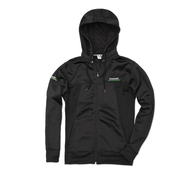 Kawasaki 3 Green Lines Technical Zip-Front Hooded Sweatshirt detail photo 1