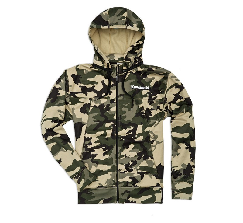 Army Camo Zip-Front Hooded Sweatshirt detail photo 1