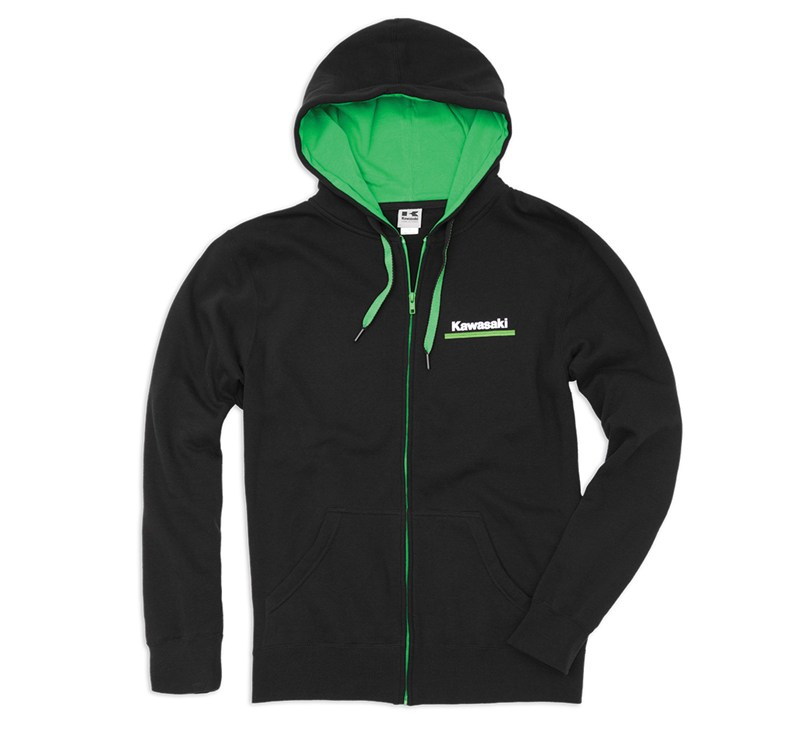 Kawasaki 3 Green Lines Zip-Front Hooded Sweatshirt detail photo 1