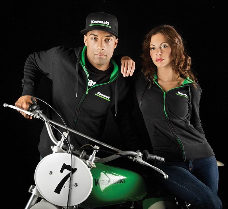 Kawasaki 3 Green Lines Hooded Sweatshirt detail photo 3
