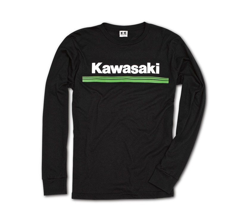 Kawasaki 3 Green Lines Long Sleeve T-Shirt detail photo 1
