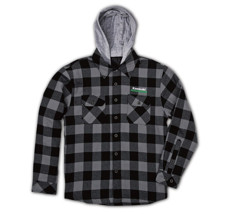 Kawasaki 3 Green Lines Hooded Flannel Lined Jacket detail photo 1