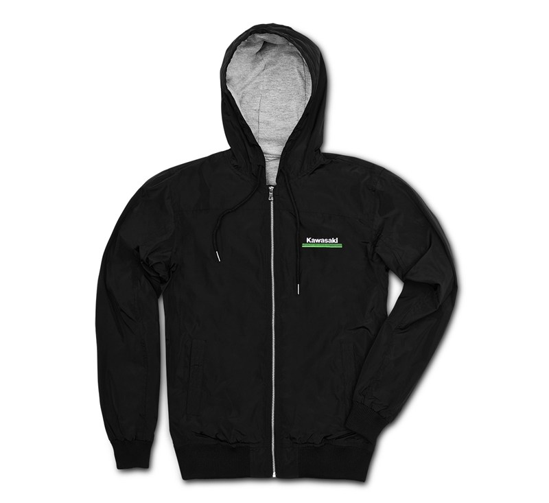 Kawasaki 3 Green Lines Hooded Windbreaker Jacket detail photo 1