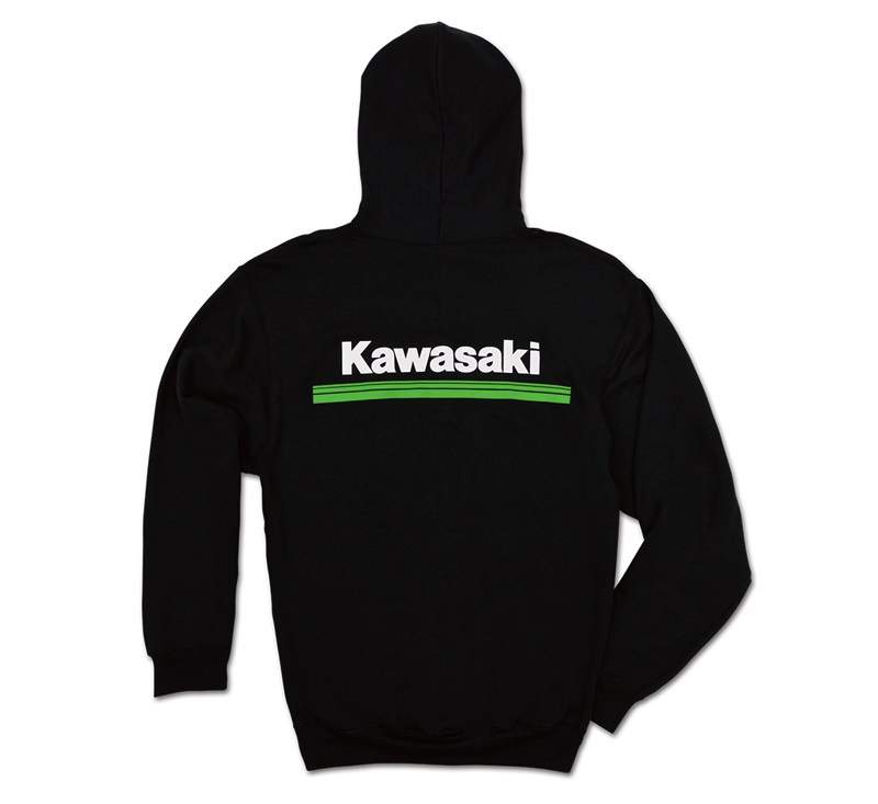 Kawasaki 3 Green Lines Zip-Front Hooded Sweatshirt detail photo 2