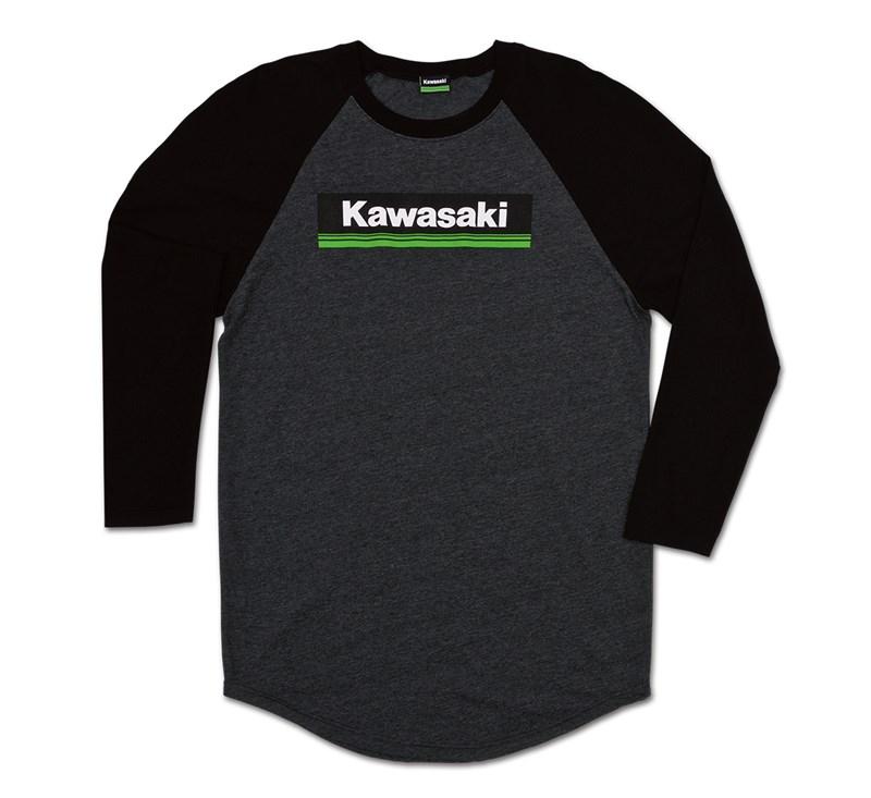 Kawasaki 3 Green Lines Raglan T-Shirt detail photo 1