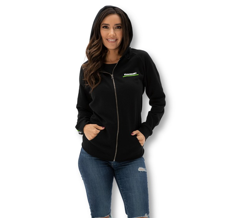 Women's Kawasaki 3 Green Lines Zip Up Sweatshirt detail photo 2