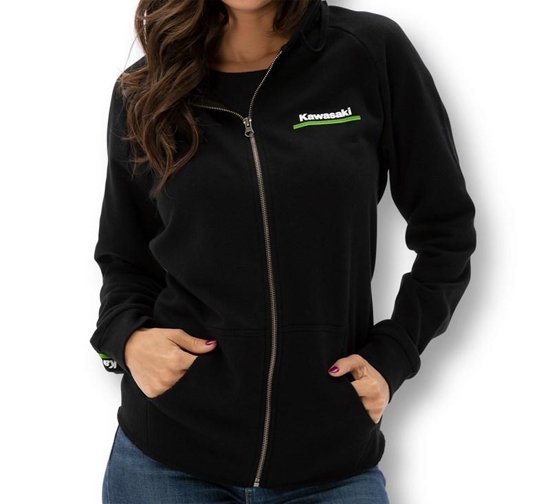 Women's Kawasaki 3 Green Lines Zip Up Sweatshirt detail photo 1