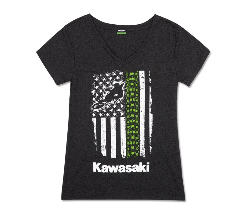 Women's Kawasaki Flag V-Neck Tee detail photo 4