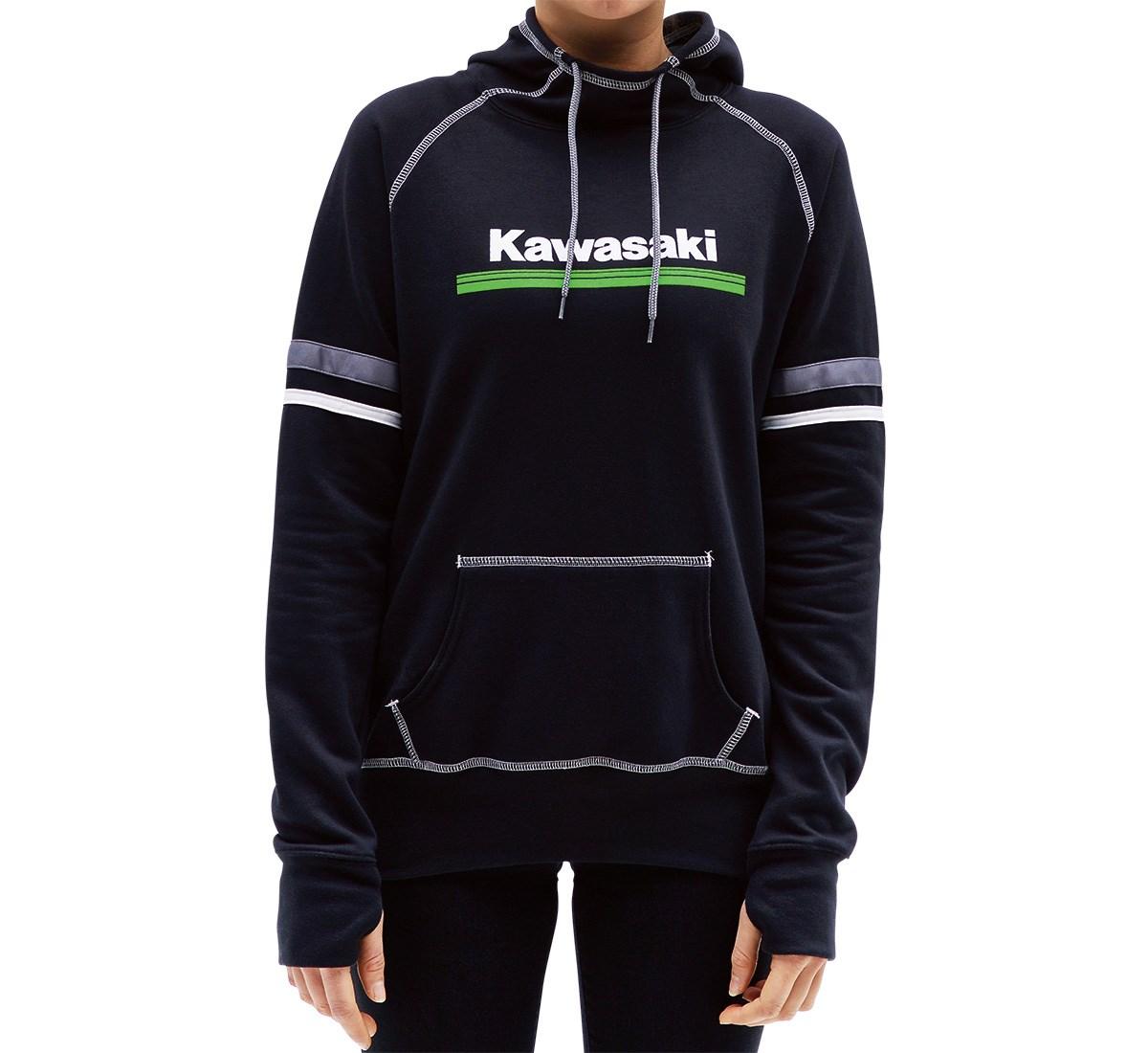 Kawasaki 3 Green Lines Zip-Up Hooded Sweatshirt Black Hoodie