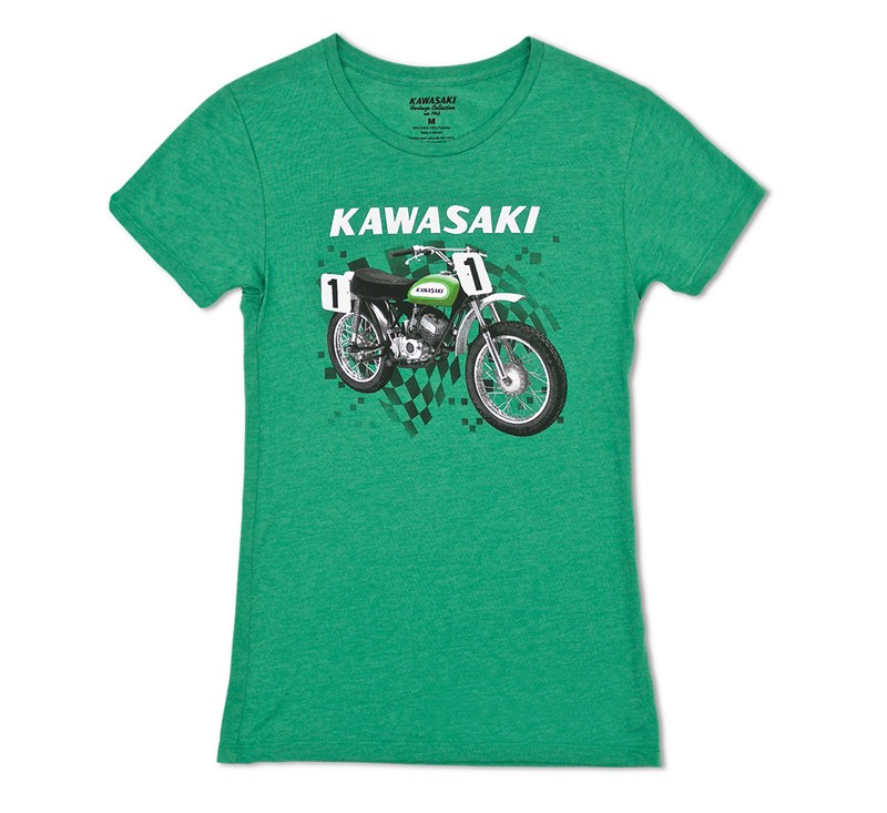 Women's Kawasaki Heritage Moto T-shirt detail photo 3