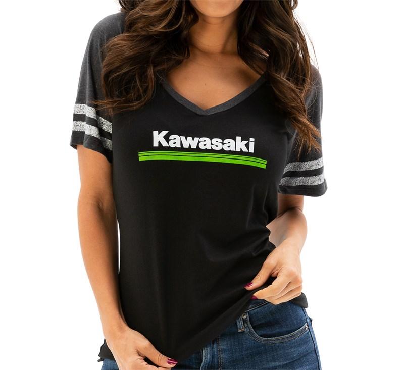 Women's Kawasaki 3 Green Lines V-Neck Athletic Tee detail photo 1