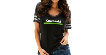 Women's Kawasaki 3 Green Lines V-Neck Athletic Tee