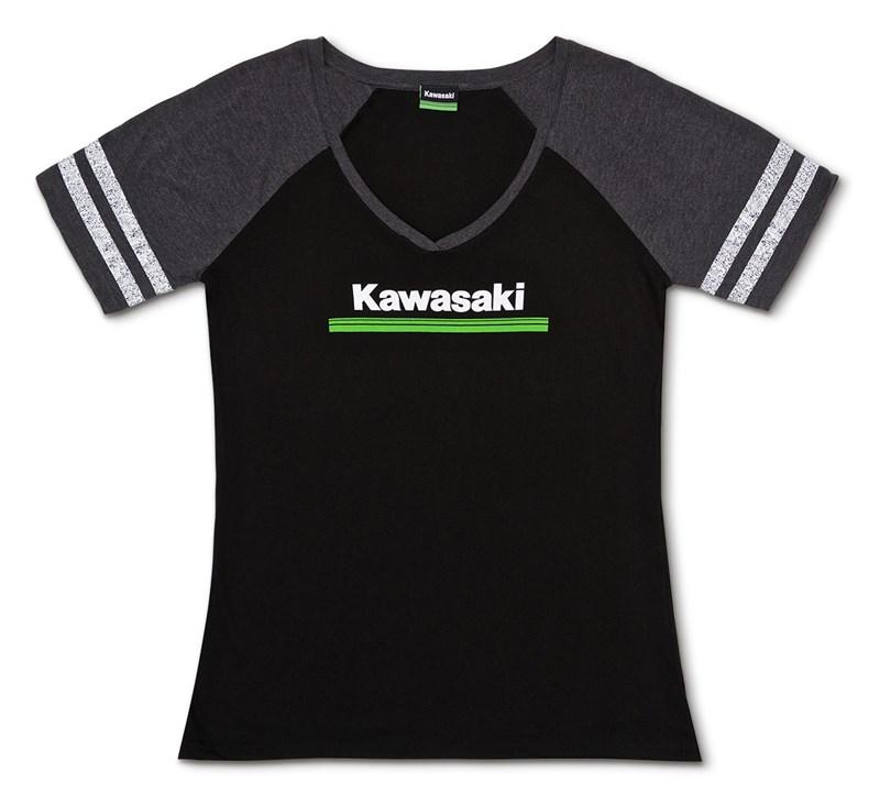 Women's Kawasaki 3 Green Lines V-Neck Athletic Tee detail photo 3