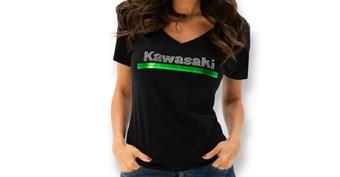Women's Kawasaki 3 Green Lines Rhinestone V-Neck Tee