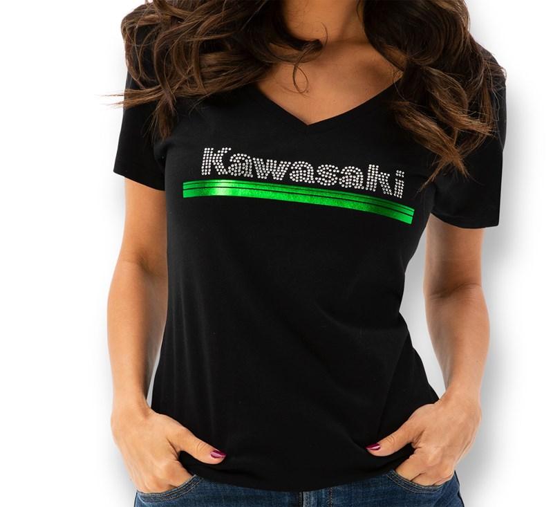 Women's Kawasaki 3 Green Lines Rhinestone V-Neck Tee detail photo 1