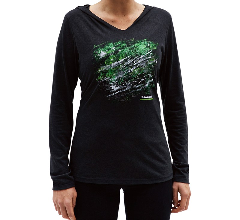 Women's Kawasaki Long Sleeve Hooded Flag Tee detail photo 4
