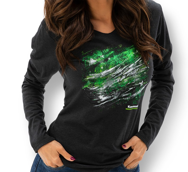 Women's Kawasaki Long Sleeve Hooded Flag Tee detail photo 1