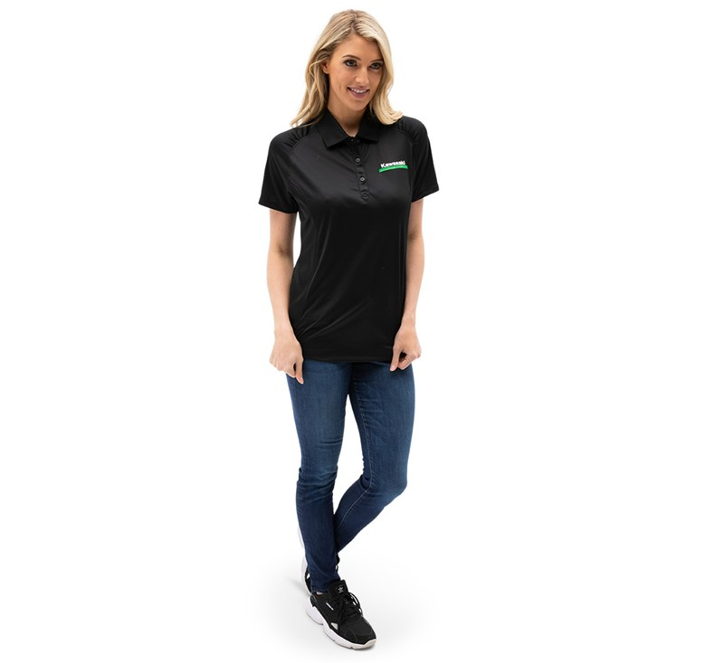Women's Kawasaki 3 Green Lines DryTec Polo detail photo 2