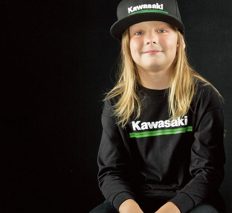 Youth Kawasaki 3 Green Lines Long Sleeve T-Shirt detail photo 2