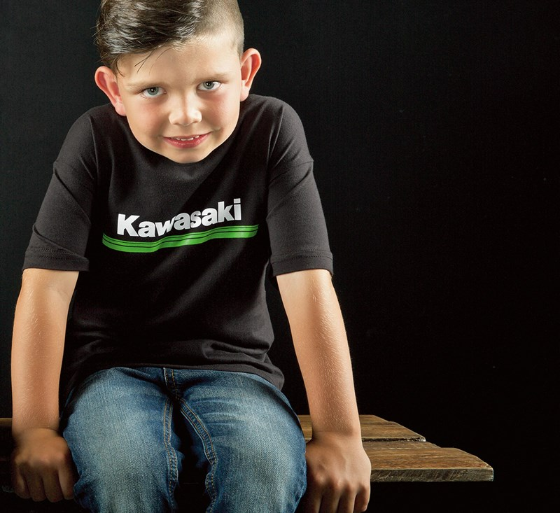 Youth Kawasaki 3 Green Lines T-Shirt detail photo 2
