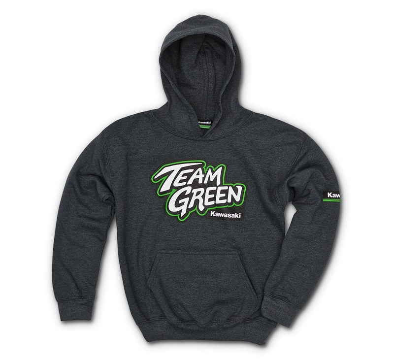 Youth Team Green Hooded Sweatshirt detail photo 1