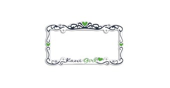 Kawi Girl Metal Chrome Auto License Plate Frame