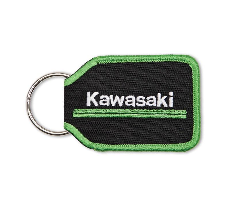 Kawasaki 3 Green Lines Woven Key Fob detail photo 1