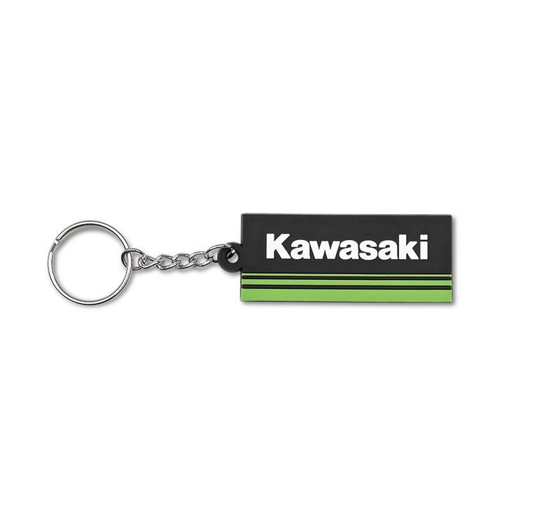 Kawasaki 3 Green Lines Rubber Keychain detail photo 2