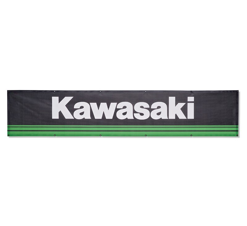 20' Kawasaki 3 Green Lines Mesh Banner detail photo 1