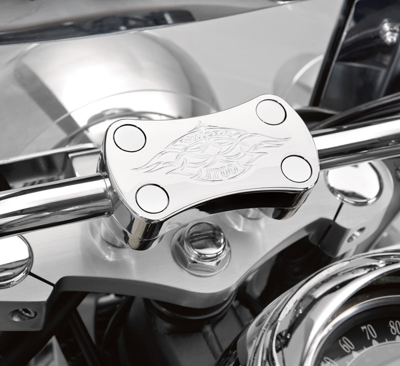Billet Handlebar Clamp, Chrome Flame detail photo 2